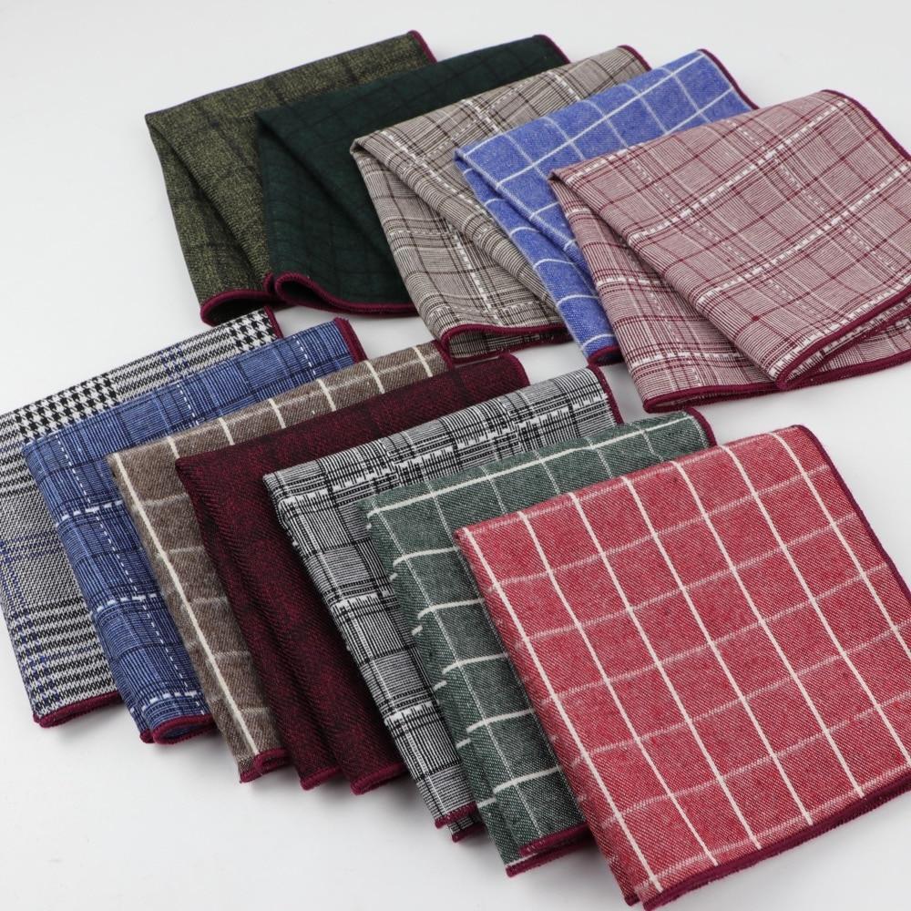 Striped Hankerchief Scarves Vintage Cotton Hankies Plaid Men's Pocket Square Handkerchiefs