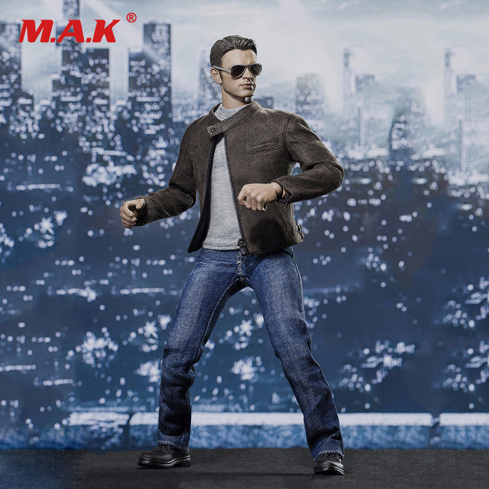 1/6 Male Figure Clothes Captain America Civil War Leather Jacket Jeans Suit With Sunglasses Shoes DIY Collections uncanny avengers unity volume 3 civil war ii