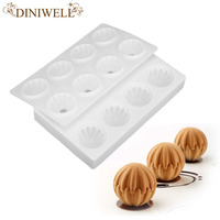 1 Pcs White Bakeware Tools 8 Cavity 3D Irregular Ball Design Silicone Mold For Mousse Cake