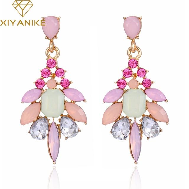 XIYANIKE New Elegant Crystal Earrings Gem Stone Resin Drop Earrings Trendy Fashion Bijoux Bohemia Brincos E501