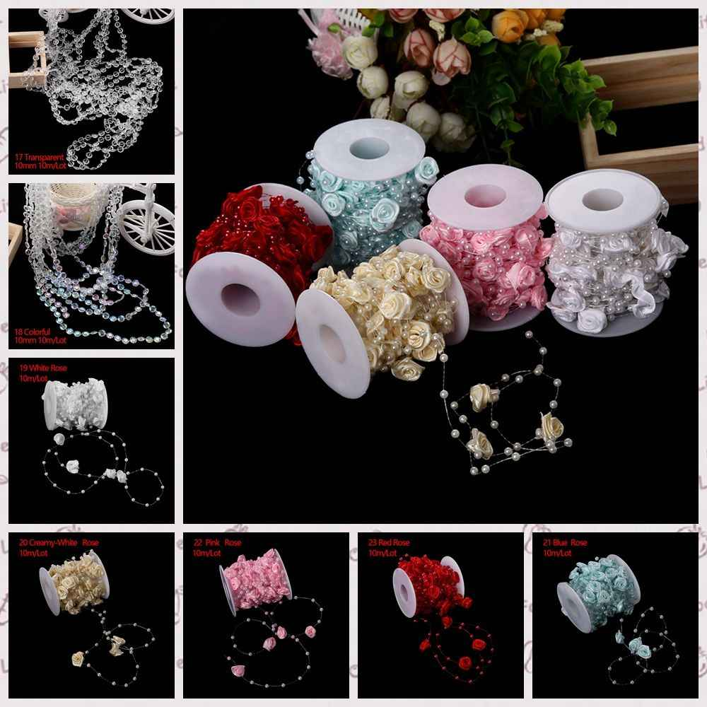 1Bag Hpt-sale Popular 5-30m Multi-size ABS Imitation Pearl Beads Chain Trim for DIY Wedding Party Decor DIY Handmade Jewelry