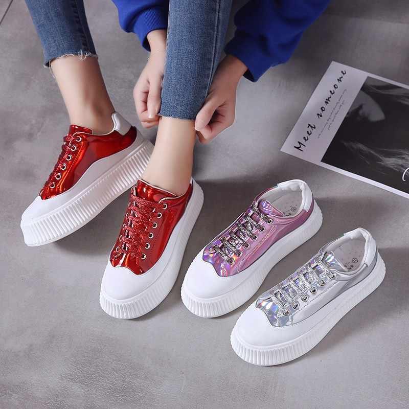 Plattform Schuhe 2019 Neue Creepers Frauen Schuhe Pailletten Bling Frauen Wohnungen Mode Damen Flache Schuhe Creepers Lace Up Designer Schuhe