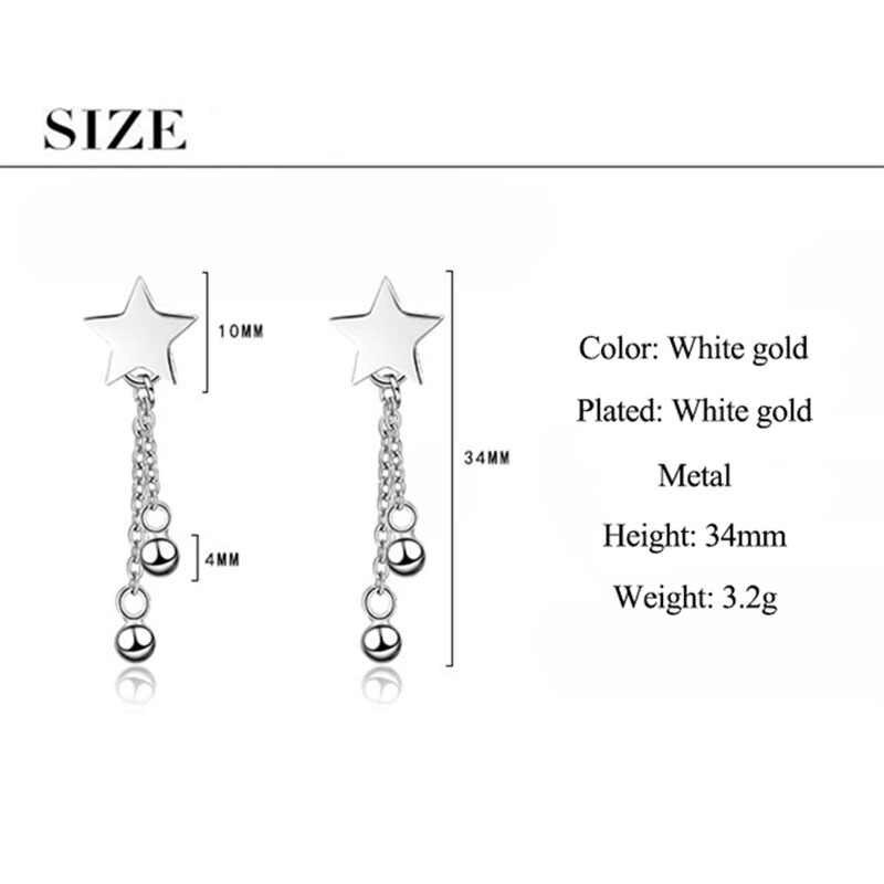 Klasik 925 Sterling Silver Star Stud Anting-Anting untuk Wanita Wanita Korea Sederhana Manik Pesona Rumbai Rantai Anting-Anting Kolczyki Brincos