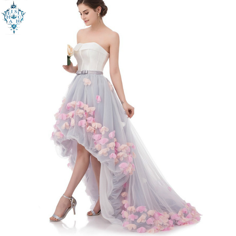 Ameision Sexy sans bretelles sans manches court avant Long dos dentelle fleur robe de soirée mariée Banquet formelle robes de soirée robes
