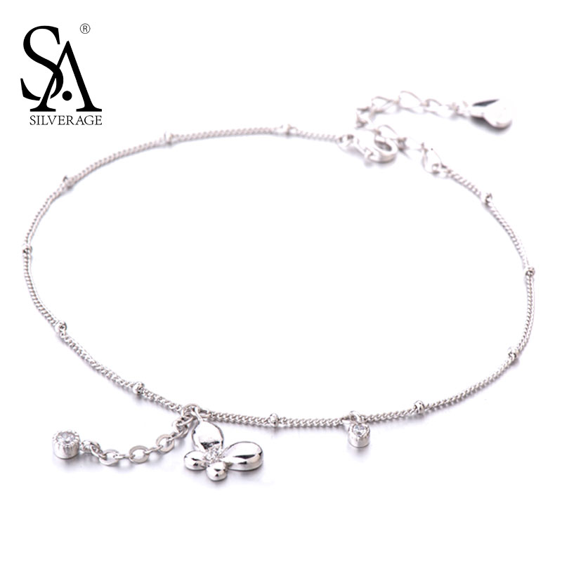 SA SILVERAGE Real 925 Sterling Silver Butterfly font b Anklets b font for Women Fine font