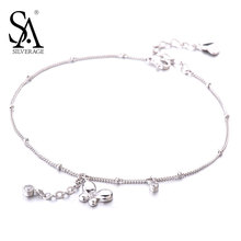 SA SILVERAGE Real 925 Sterling Silver Butterfly Anklets for Women Fine Jewelry Animal Chain Anklet Gift