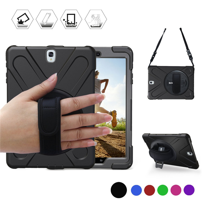 Cover For Samsung Galaxy Tab S2 9.7 T810 T813N T815 T819 Kids Safe Heavy Duty Silicone+PC Kickstand Case W/ Wrist+Shoulder Strap