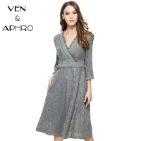 VA Lace Dress Women Spring Summer Vestidos Party Dresses Perspective Long Slim V Neck Dresses Vintage