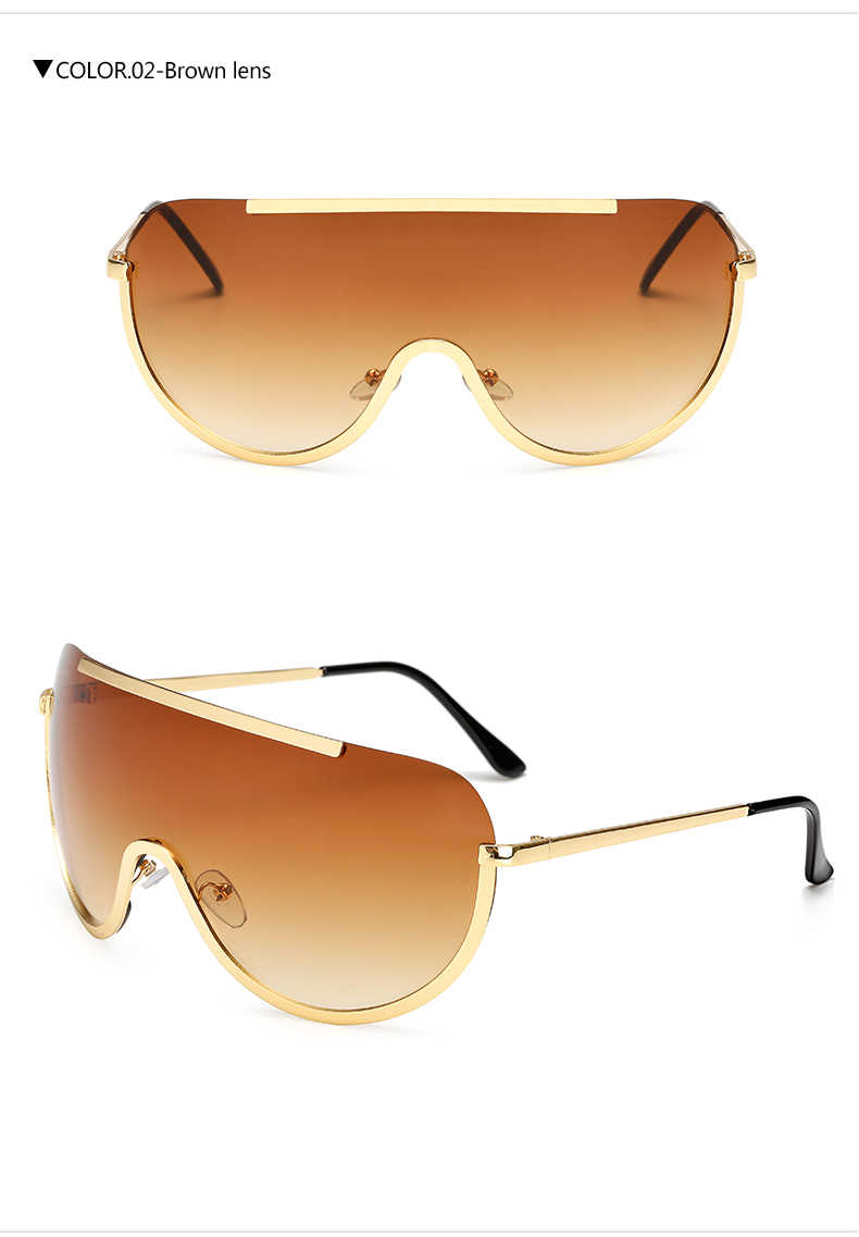 4749c34857 ... 2019 New Oversize Shield Sunglasses Big Frame Alloy One Piece Sexy Cool Sun  Glasses Women Gold ...