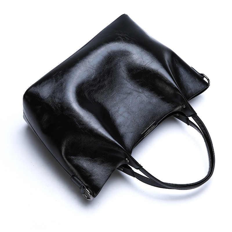 Hakiki deri çanta çanta yeni kadın çanta avrupa ve amerika yağ balmumu deri omuzdan askili çanta katı Casual Tote moda C823