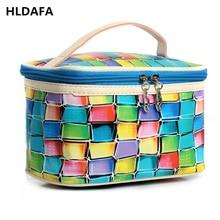 HLDAFA 2017 PU women makeup bag Plaid fashion travel organizer cosmetic bag professional suitcase toiletry bag pouch beauty case