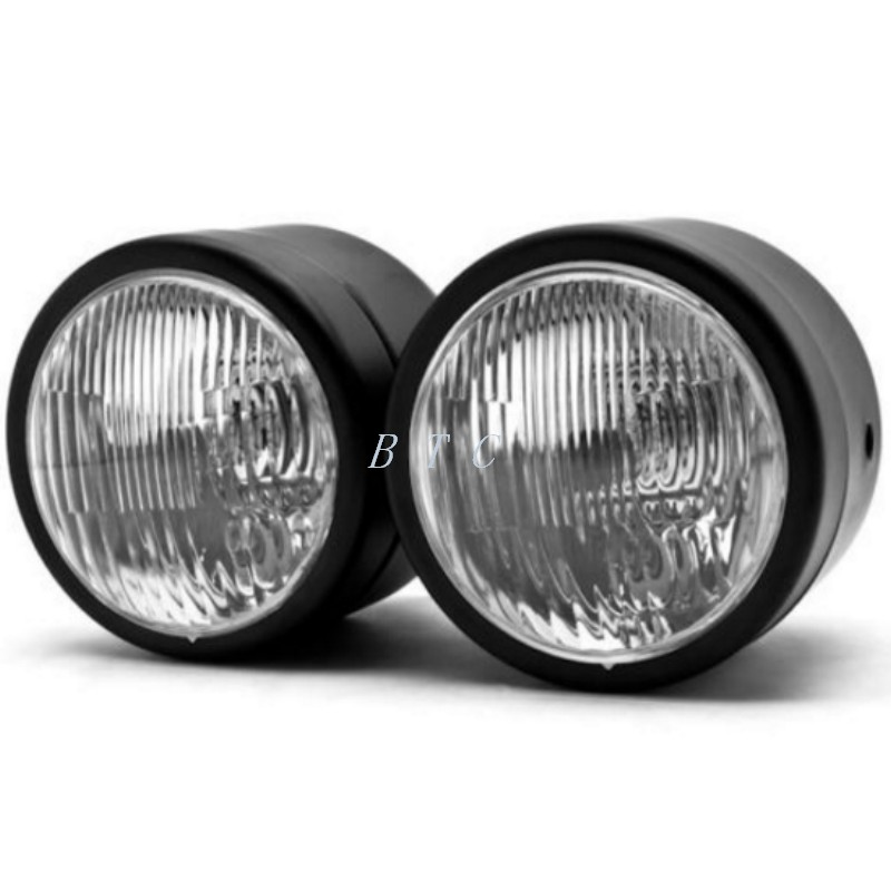 Black Twin Headlight Motorcycle Double Dual Lamp Street -7063