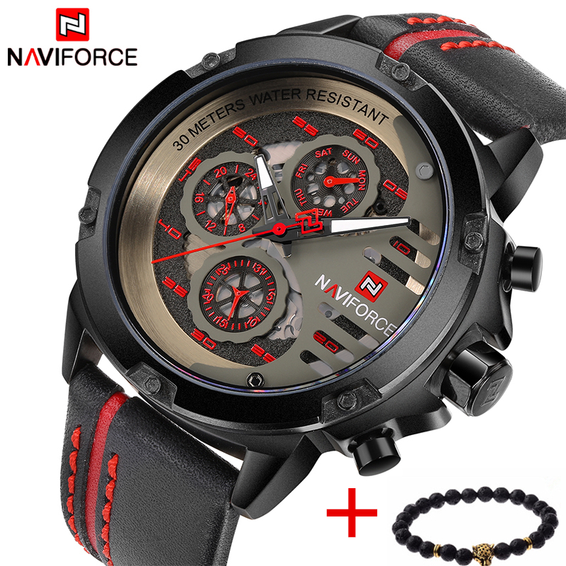Top Luxury Brand NAVIFORCE Leather Strap Analog Date Quartz Men's Watches Casual Watch Men sport Wristwatch relogio masculino