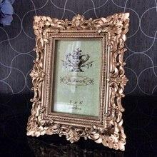 European style resin photo frame double embossed silver luxury pendulum 6inch