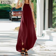 Women Sexy Halter Sleeveless Irregular Dress ZANZEA Long Maxi Vestido Sarafans 2019 Summer Sundress Beach Party Dresses