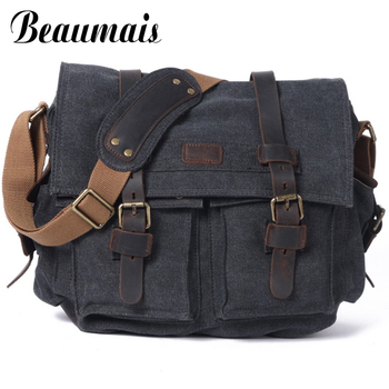 Vintage Men's Messenger Bags Canvas Shoulder Bag For Men Genuine Leather Fashion Men Business Travel Crossbody Bags WBS415