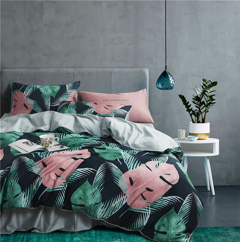 Funda Nordica King Size.Leaf Birds Print 3d Bedding Set Luxury Egyptian Cotton Queen King