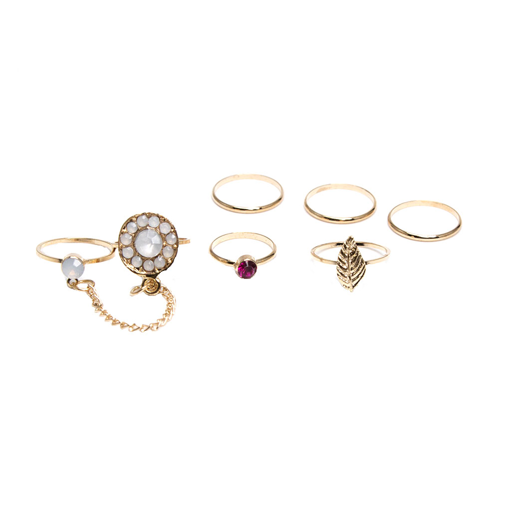 7 Pieces/ Set Retro Rhinestone Finger Ring Knuckle Midi Finger Ring Gold Tone Lady Band Stacking Rings