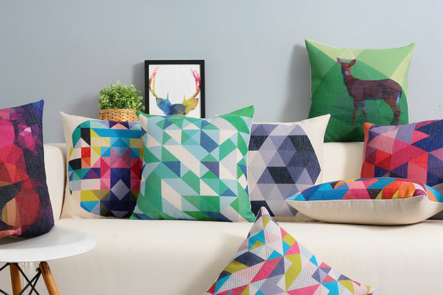 Aliexpress.Com : Buy Color Abstract Decorative Cushion Geometric