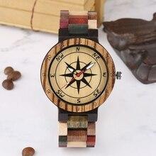 Creative Compass Dial Wood Watch Men Bamboo Watch Male Clock