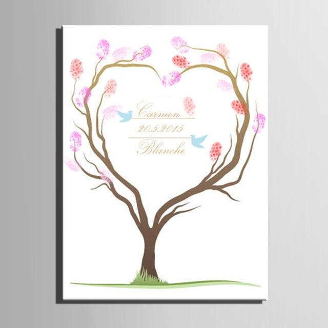 Fingerprint Baum Unterschrift Leinwand Malerei Herz Baum Diy