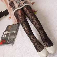 купить Women Black Lace Tights Floral Pattern Sexy Pantyhose Long Stocks Fishnet Thin Tight for Spring Summer Faux Tattoo Stockings дешево