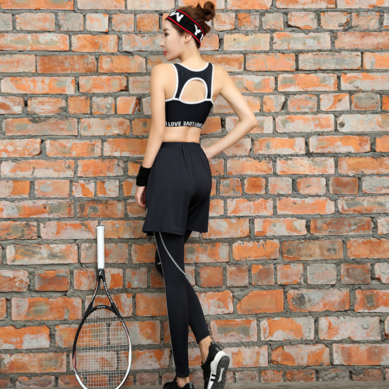 New Women Yoga Set Breathable Letter Patter Gym Clothing Black Round Neck Shrits+Sport Bra+Pants+Shorts 4 Pcs Sport Suit Fitness - 6