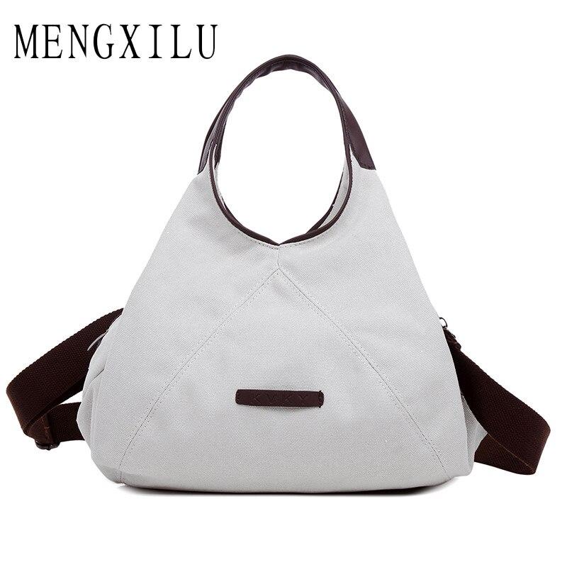 MENGXILU New Arrival Gray Elegant Womens Shoulder Bags Canvas Satchels Shopping Travel Big Capacity Bag Top Handle Tote Handbag