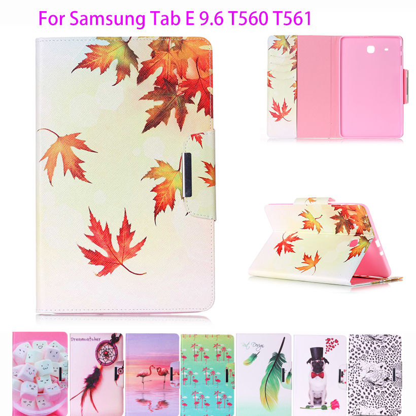 Fashion Cartoon flower painted PU Leather Case For Samsung Galaxy Tab E 9.6 T560 SM-T560 T561 Cover Tablet Funda Stand Shell luxury flip stand case for samsung galaxy tab 3 10 1 p5200 p5210 p5220 tablet 10 1 inch pu leather protective cover for tab3