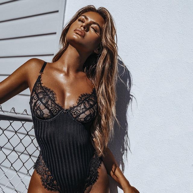 2018 Sexy hollow out transparent black/white Playsuit Halter lace jumpsuit romper body overalls Skinny women bodysuit transparen