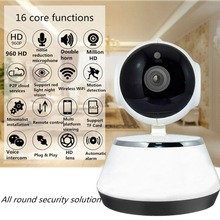 лучшая цена White HD Wireless Wifi IP Camera 3.6mm Lens Wide Angle Baby monitor Support Night Vision 24h video recording for home Security