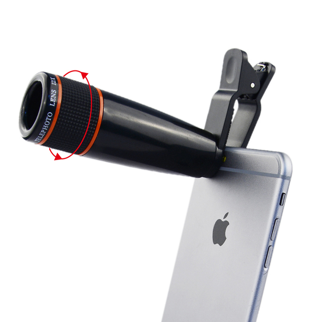 12X Telephoto Telescope Optical Zoom Lens+ Wide Angle & Macro+ Fisheye Lens Camera Lens Kit for iPhone5s 7 6s Plus Samsung 12CX3 4