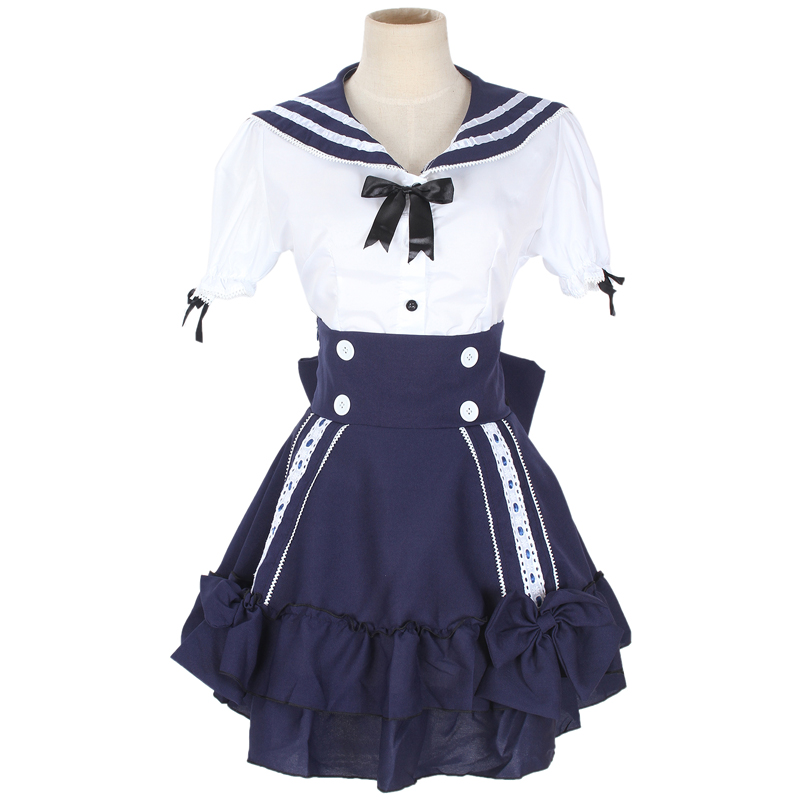 Free Shipping White and Blue Girl Navy Japanese Lolita Sailor Dress Sweet Gothic Lolita Dress Kawaii