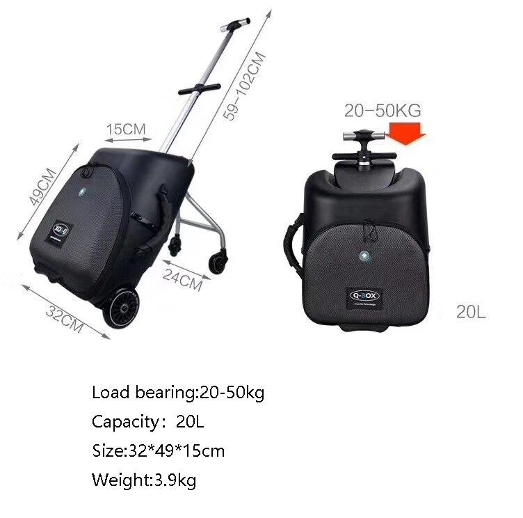 CARRYLOVE haute qualité et pratique enfants scooter valise paresseux continuer à rouler bagages ride sur chariot sac pour bébé