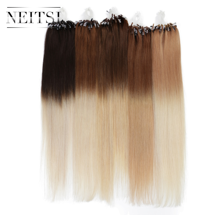Neitsi Straight Ombre Brazilian Loop Micro Ring Hair Extensions Machine Made Remy Human Hair 20 1g