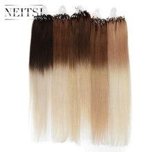 """Neitsi прямо Ombre бразильские Микрокольца для наращивания волос машина сделала Реми Человеческие волосы 20 """"1 г/локон 100 г Быстрая доставка DHL"""