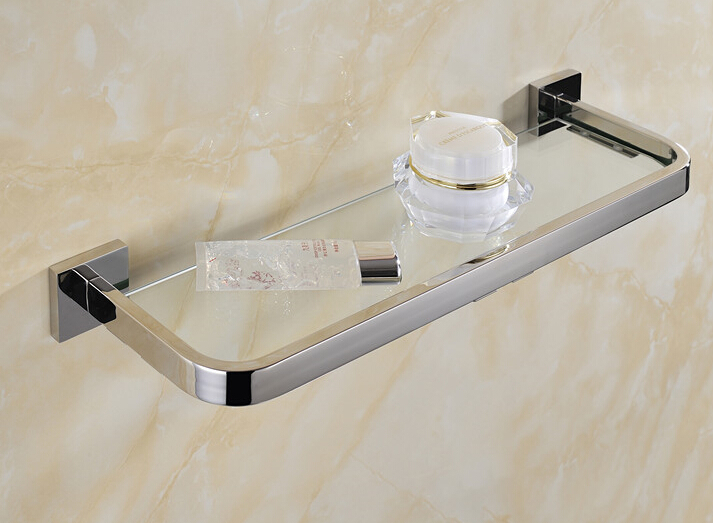 30cm stainless steel 304 bathroom glass shelf rack bath shower holder bathroom basket shower room suction