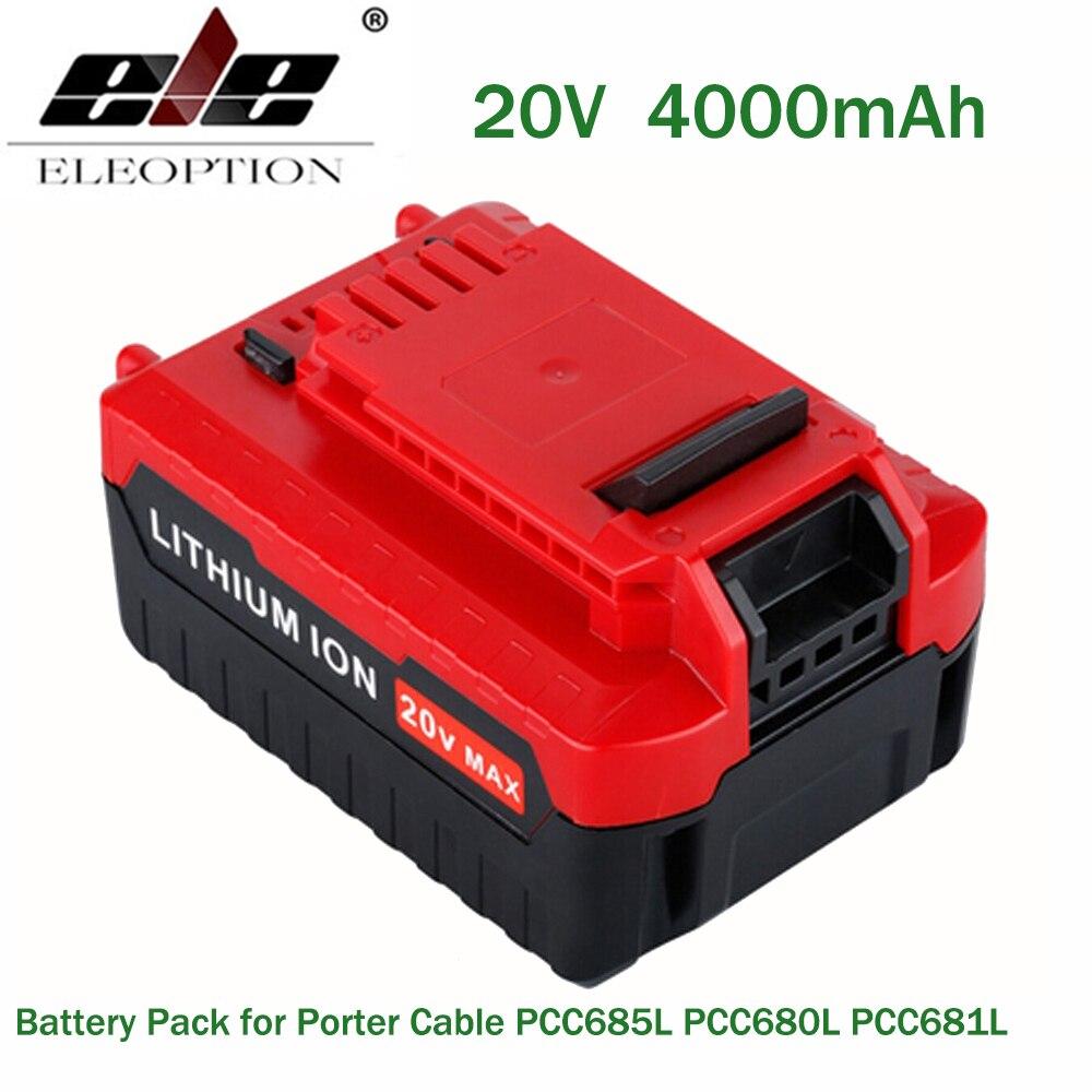 ELE ELEOPTION 20V Max 4000mAh 4.0Ah Lithium Ion Li-ion Rechargeable Battery Pack for Porter Cable PCC685L PCC680L PCC681L