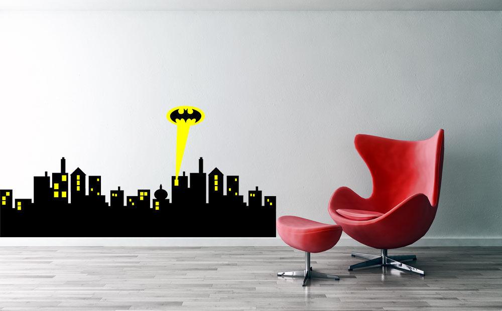 Gotham city skyline batman wall decal vinyl batman wall decal for Hallowmas