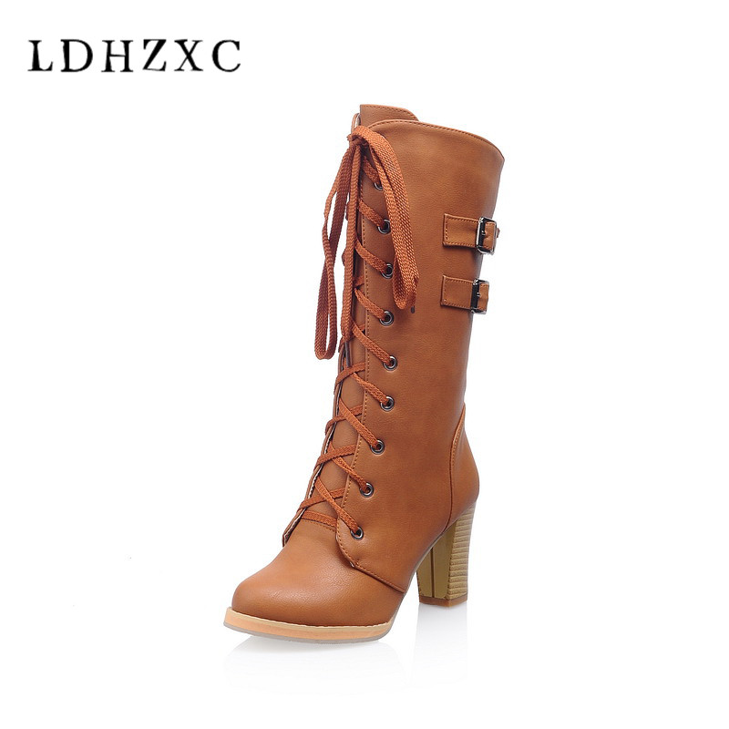 LDHZXC 2018 new Women Knee High Boots All Match Winter Shoes All Match Pointed Toe Lace Up Women Motorcycle Boots Size34-43 women s ankle boots strappy pointed toe vogue comfy all match shoes