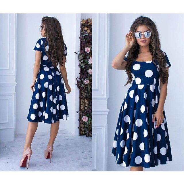 Women Bohemian Dot Printed A-line Party Dress 2