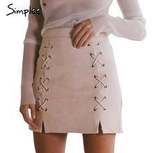 Simplee Осень зашнуровать кожа замша юбка-карандаш Зима 2016 крест высокой талии юбка Молния раскол bodycon короткие юбки женщин