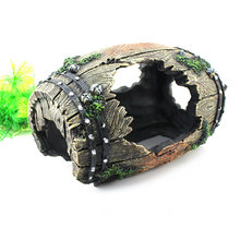 Resin Barrel Hide Cave reptile turtle box Aquarium Fish Tank Artificial Ornament Landscaping Decoration