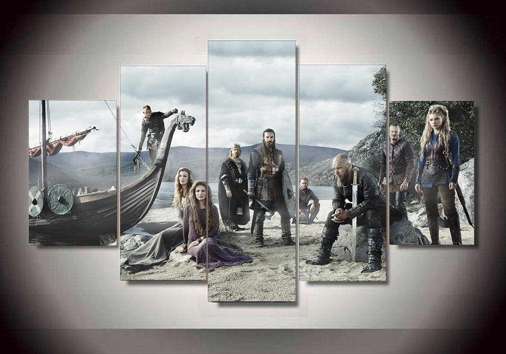 5 Piece Tv Series Vikings Poster Modern Home Wall Decor