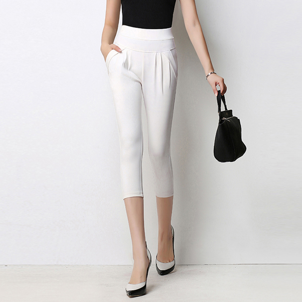 new brand fashion black white women harem   pants     capris   plus size high waist summer casual   pants   ladies office out wear bottoms