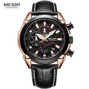 Image 2 - MEGIR Mens Fashion Sports Quartz Watches Leather Waterproof Luminous Chronograph Wristwatch Clock Relogios Masculino 2065 Rose