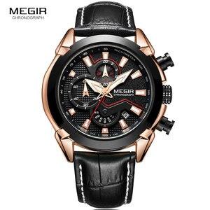Image 2 - MEGIR גברים של אופנה ספורט קוורץ שעונים עור עמיד למים זוהר הכרונוגרף שעוני יד שעון Relogios Masculino 2065 עלה