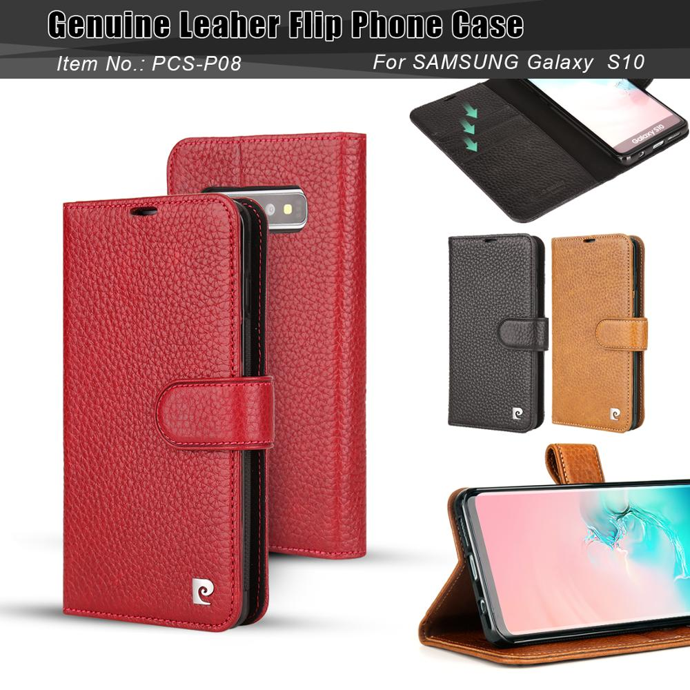 For Samsung Galaxy S10 Plus S10 Phone Case Cover Pierre Cardin Classic Genuine Leather Stand Flip Card Free Shipping