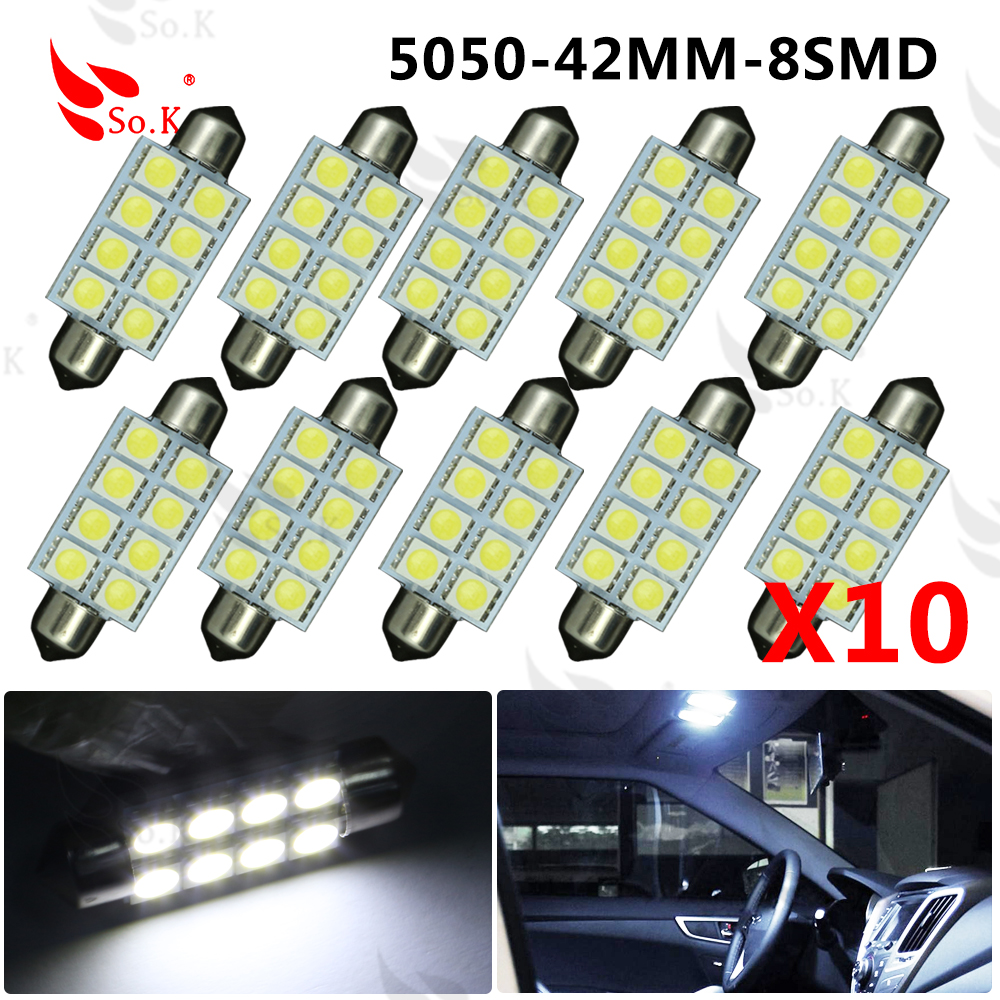 Big Promotion 42MM 8 LED 5050 SMD Car Auto C5W Dome Interior Festoon Bulb Reading Map Light Door Lamp DC12Vled smd 5050 42mm 2pcs white red blue t10 24 smd cob led panel car auto interior reading map lamp bulb light dome festoon ba9s 3adapter dc 12v led