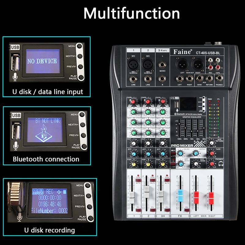 LEORY Profissional Bluetooth 4 Channel DJ Mixer Controller With USB LED Screen Metal DJ Mezclador DJ Console Wireless For Audio